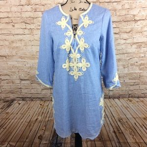 New Theme Boho Style Piping Lined Tunic Top Small